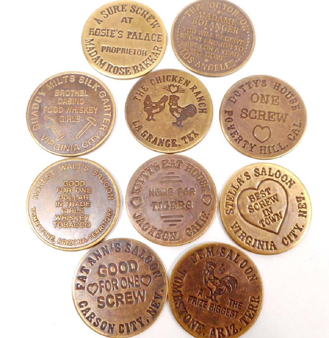 LOT OF 10 BRASS CAT HOUSE BROTHEL TOKENS