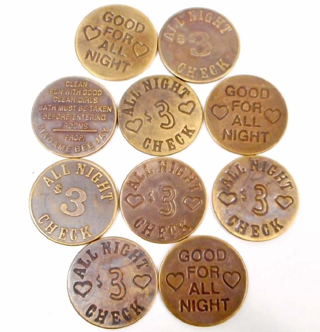 LOT OF 10 BRASS CAT HOUSE BROTHEL TOKENS - 2