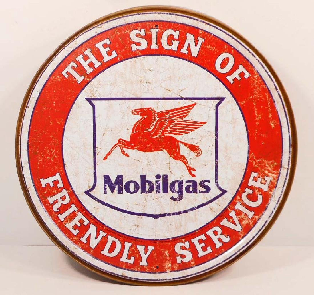 MOBILGAS ADVERTISING ROUND METAL SIGN