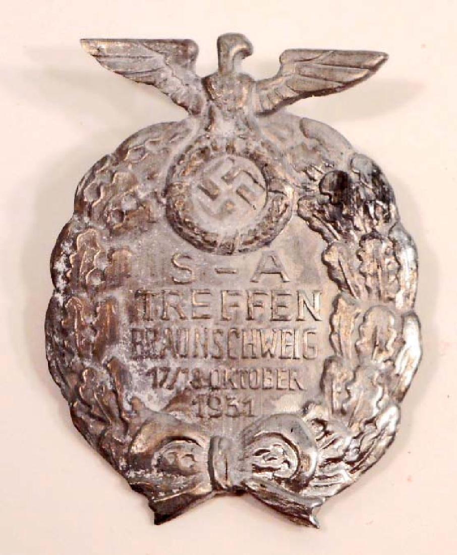 GERMAN NAZI SA TREFFEN BRAUNSCHWEIG RALLY BADGE