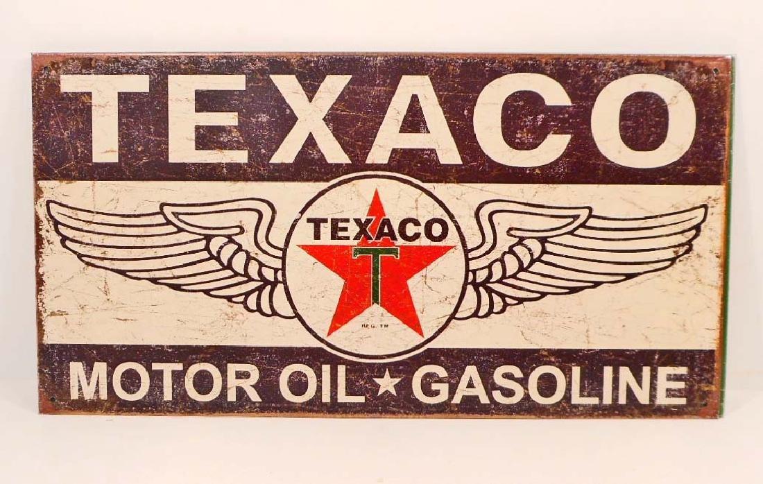 TEXACO MOTOR OIL & GASOLINE ADVERTISING METAL SIGN