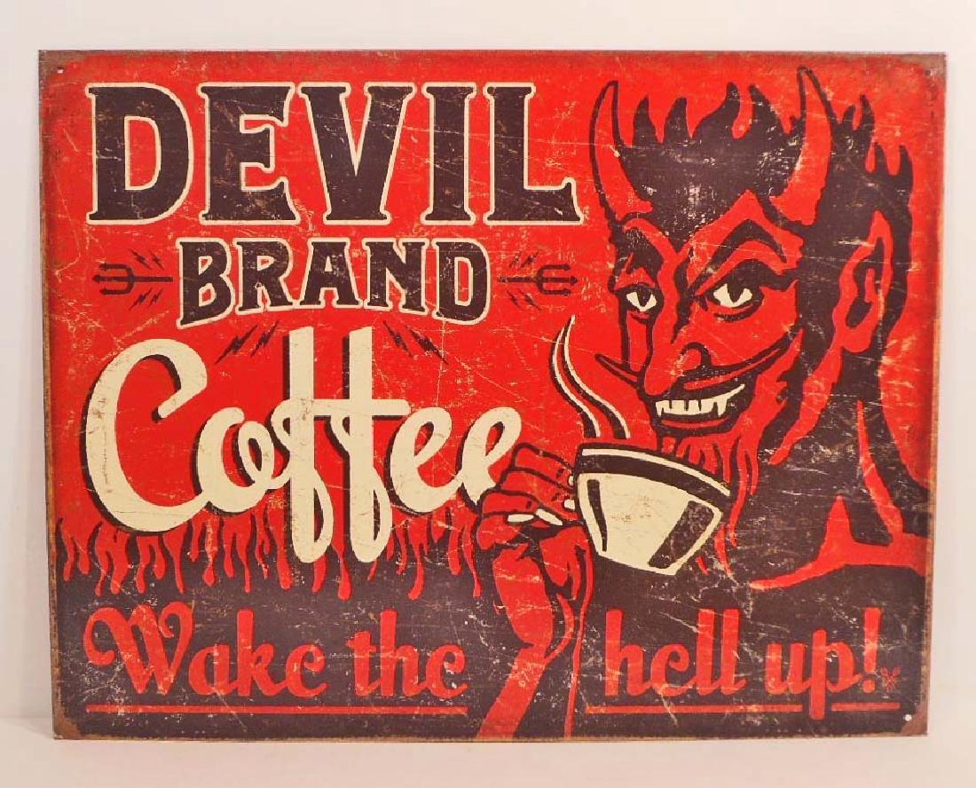DEVIL BRAND COFFEE ADVERTISING METAL SIGN