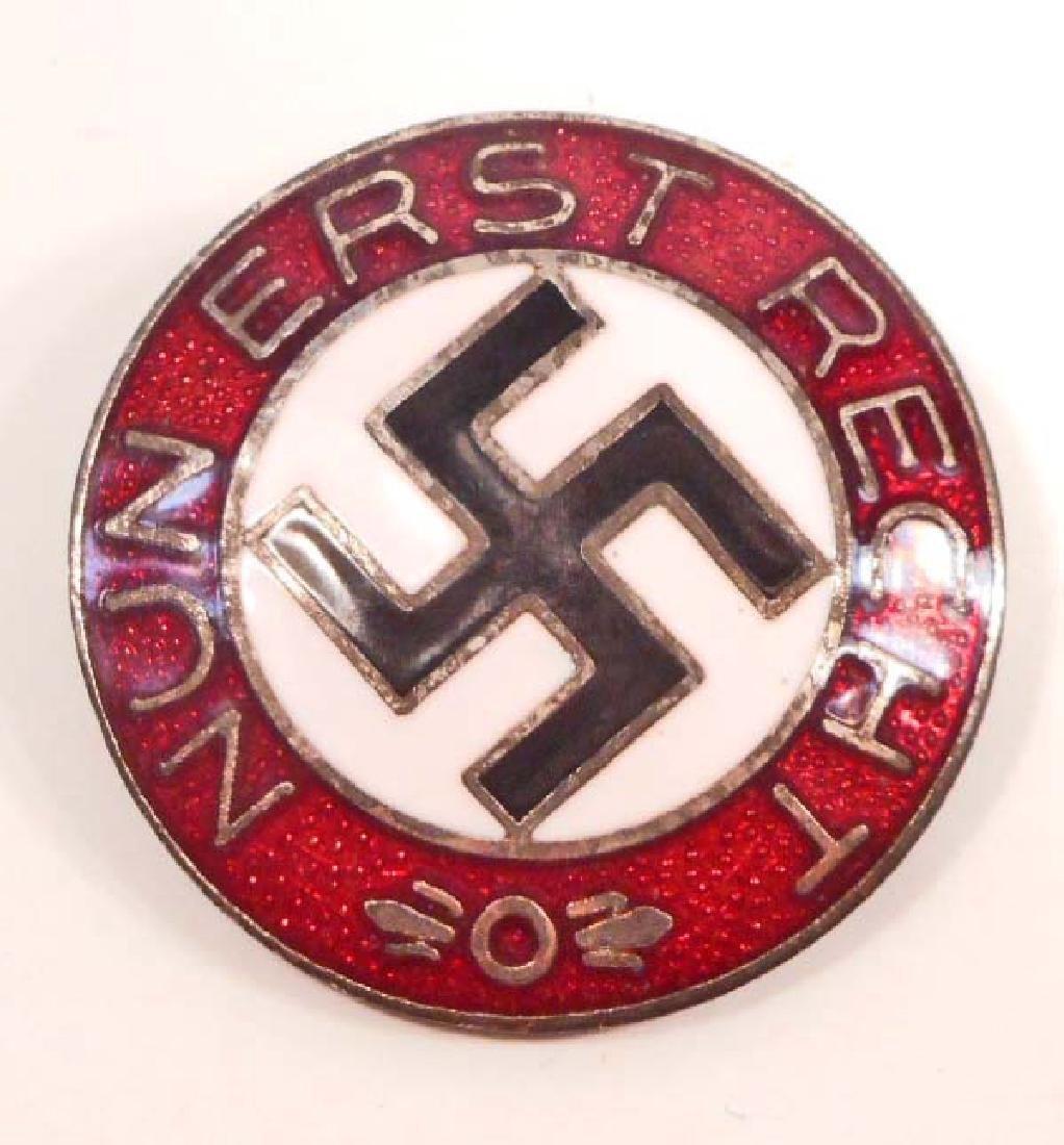 GERMAN NAZI NUN ERST RECHT ENAMELED PARTY BADGE