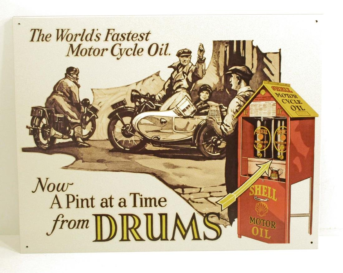 SHELL FROM DRUMS MOTOR OIL ADVERTISING METAL SIGN