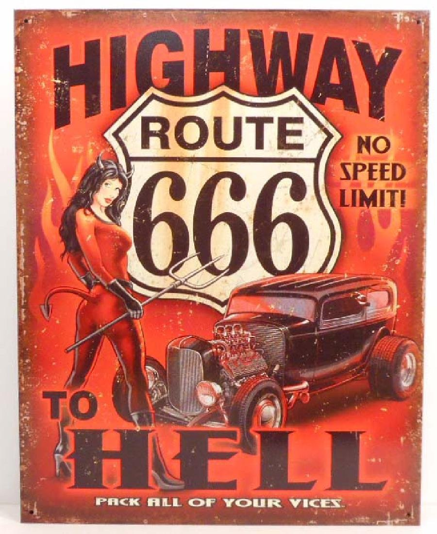 HIGHWAY TO HELL ROUTE 666 METAL SIGN - 12.5X16