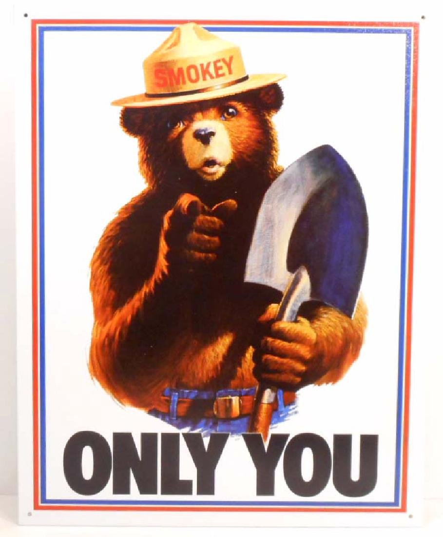 SMOKEY THE BEAR METAL ADVERTISING SIGN - 12.5X16