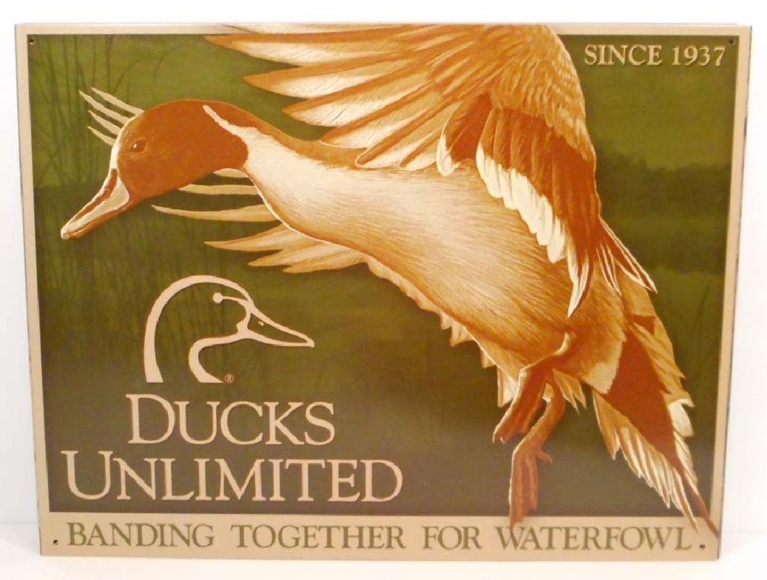 DUCKS UNLIMITED BANDING TOGETHER METAL ADVERTISING SIGN