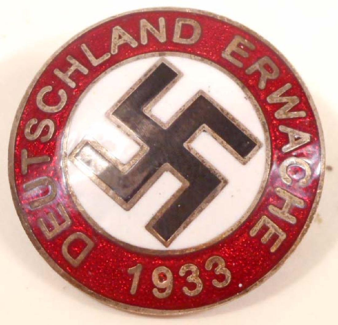 GERMAN NAZI DEUTSCHLAND ERWACHE PARTY LAPEL BADGE