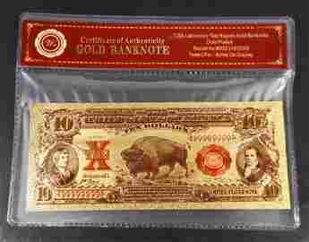 COLLECTIBLE TEN DOLLAR GOLD BANKNOTE W/ COA