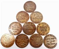 LOT OF 10 BROTHEL CAT HOUSE TOKENS