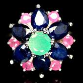 STERLING SILVER EMERALD, SAPPHIRE & RUBY RING - SZ. 7.5