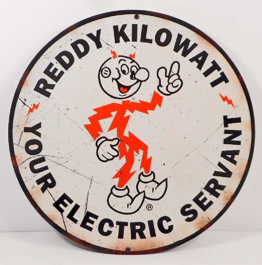 "REDDY KILOWATT ELECTRICITY METAL SIGN - 14"" ROUND"