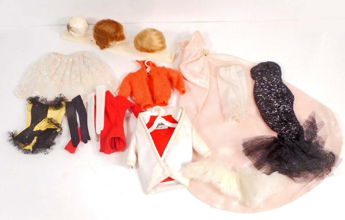LOT OF VINTAGE BARBIE CLOTHES AND WIGS