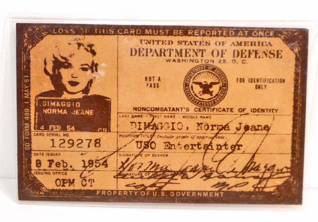 MARILYN MONROE NORMA JEANE DIMAGGIO USO ENTERTAINER ID