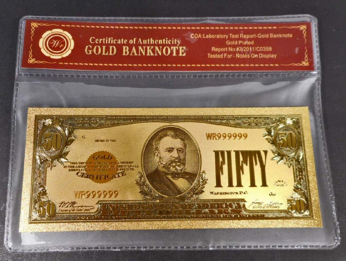 COLLECTIBLE FIFTY DOLLAR GOLD BANKNOTE W/ COA