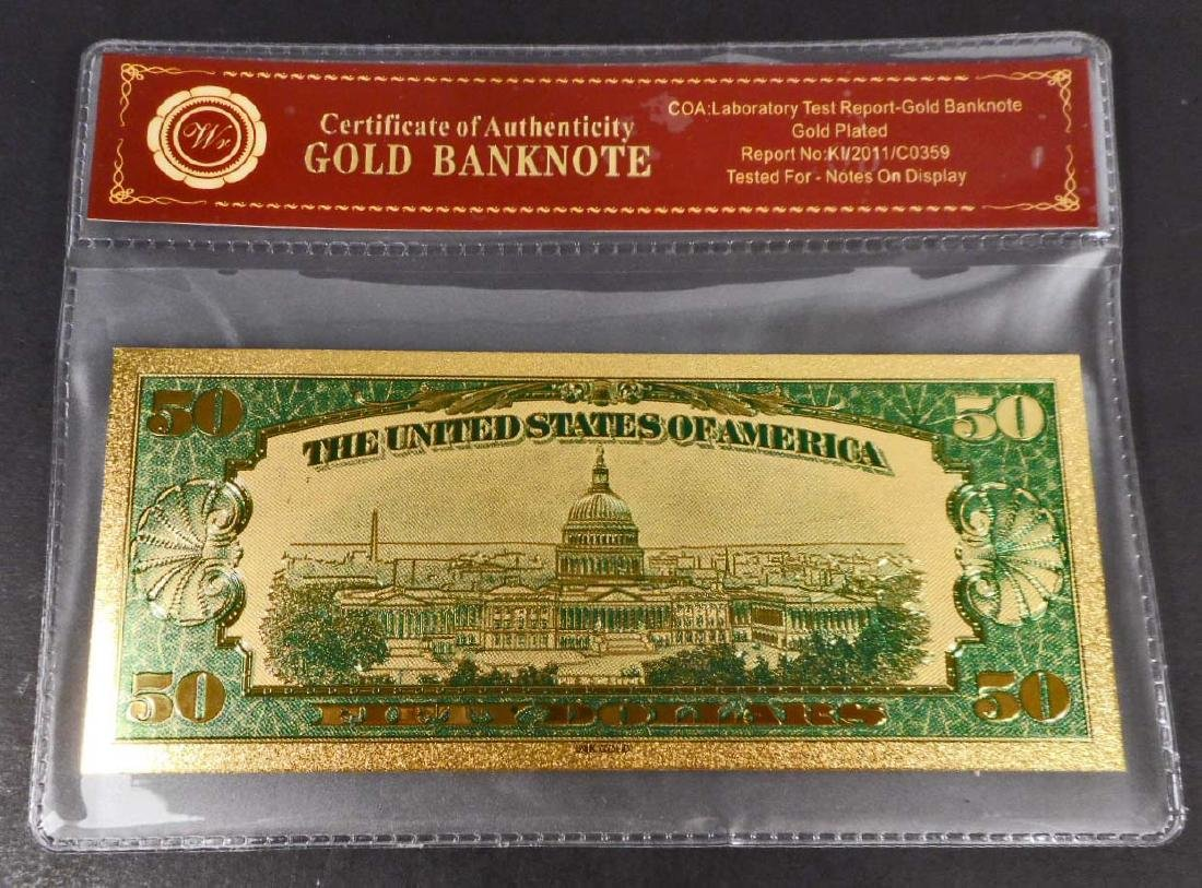 COLLECTIBLE FIFTY DOLLAR GOLD BANKNOTE W/ COA - 2