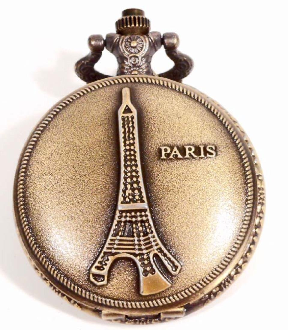 PARIS EIFFEL TOWER POCKET WATCH W/ CHAIN