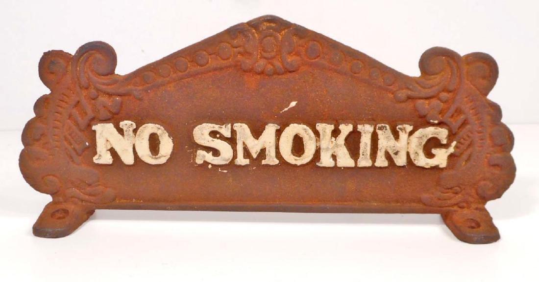 CAST IRON ORNATE NO SMOKING REGISTER SIGN