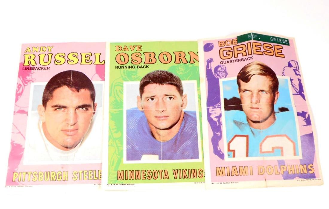 LOT OF 3 VINTAGE C. 1960'S FOOTBALL PIN-UP POSTERS