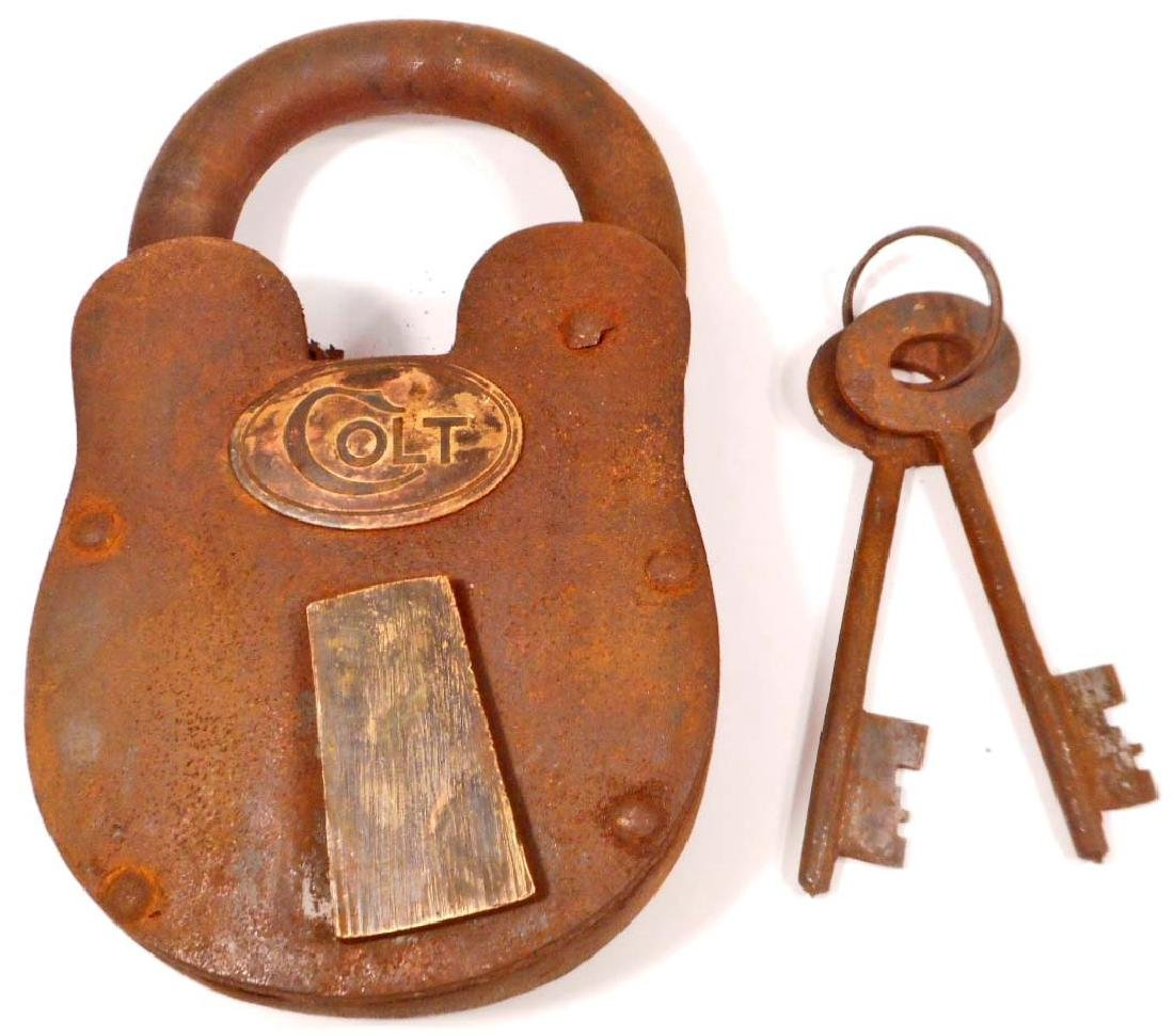 EXTRA LARGE COLT CAST IRON PADLOCK W/ KEYS