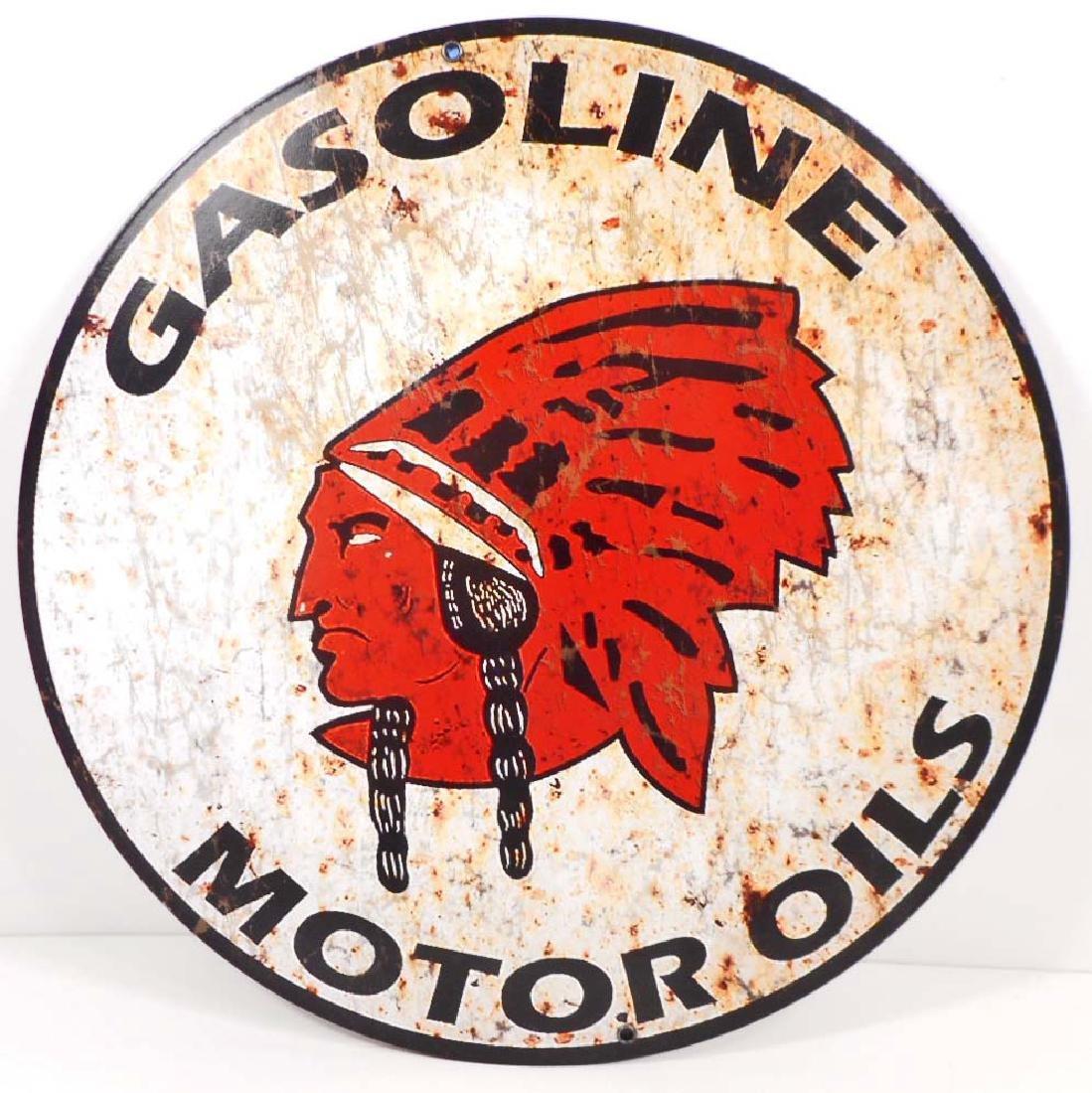 "GASOLINE MOTOR OIL METAL SIGN - 14"" ROUND"