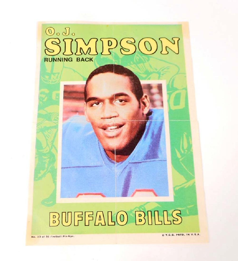 VINTAGE 1969 O.J. SIMPSON FOOTBALL PIN-UP POSTER