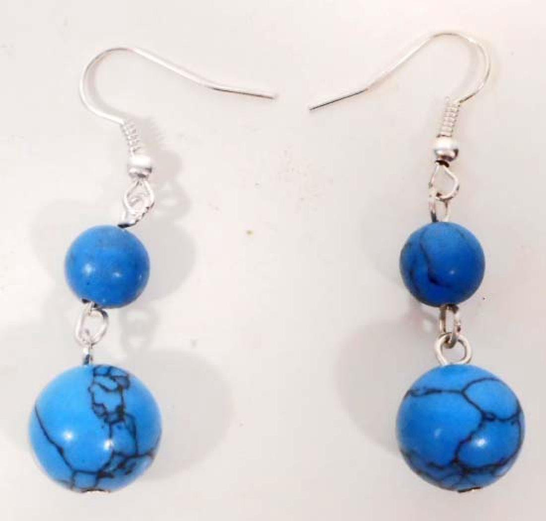 PAIR OF STERLING SILVER TURQUOISE COLOR EARRINGS