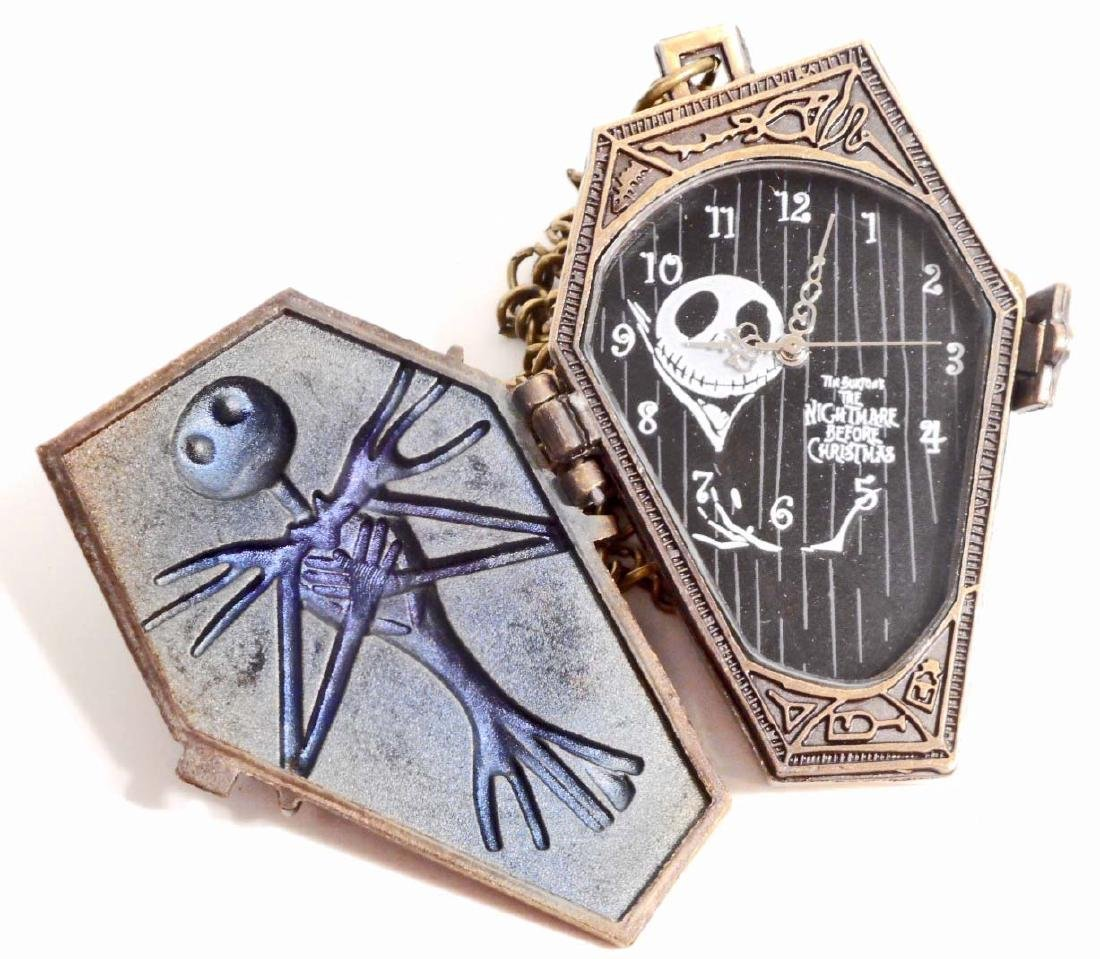 JACK SKELLINGTON COFFIN SHAPED POCKET WATCH W/ CHAIN - 2