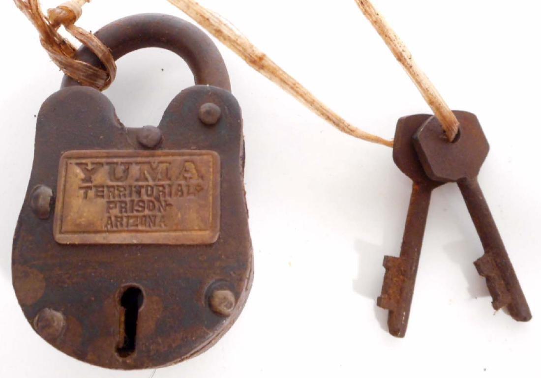CAST IRON YUMA PRISON GATE LOCK W/ KEYS