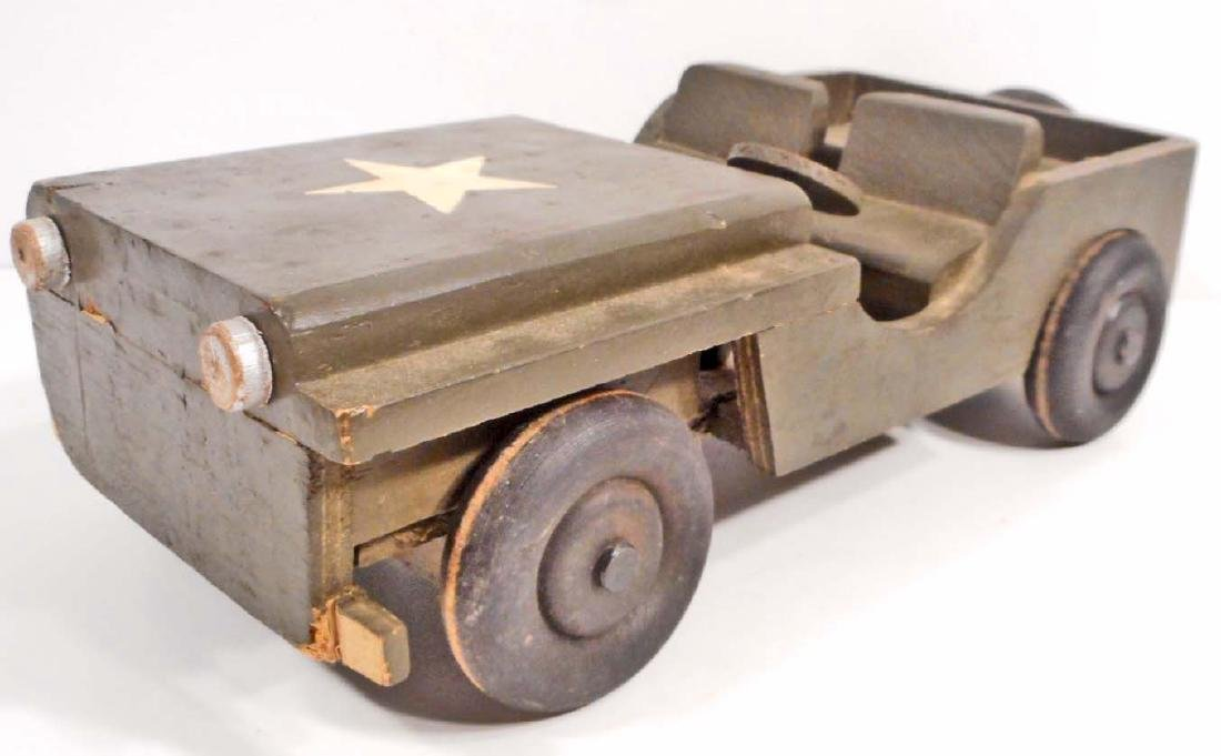 C. 1950'S WOODEN TOY ARMY JEEP