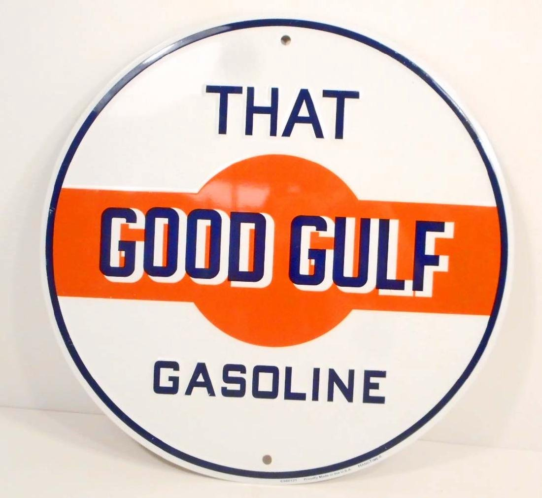 GULF GASOLINE ROUND METAL ADVERTISING SIGN