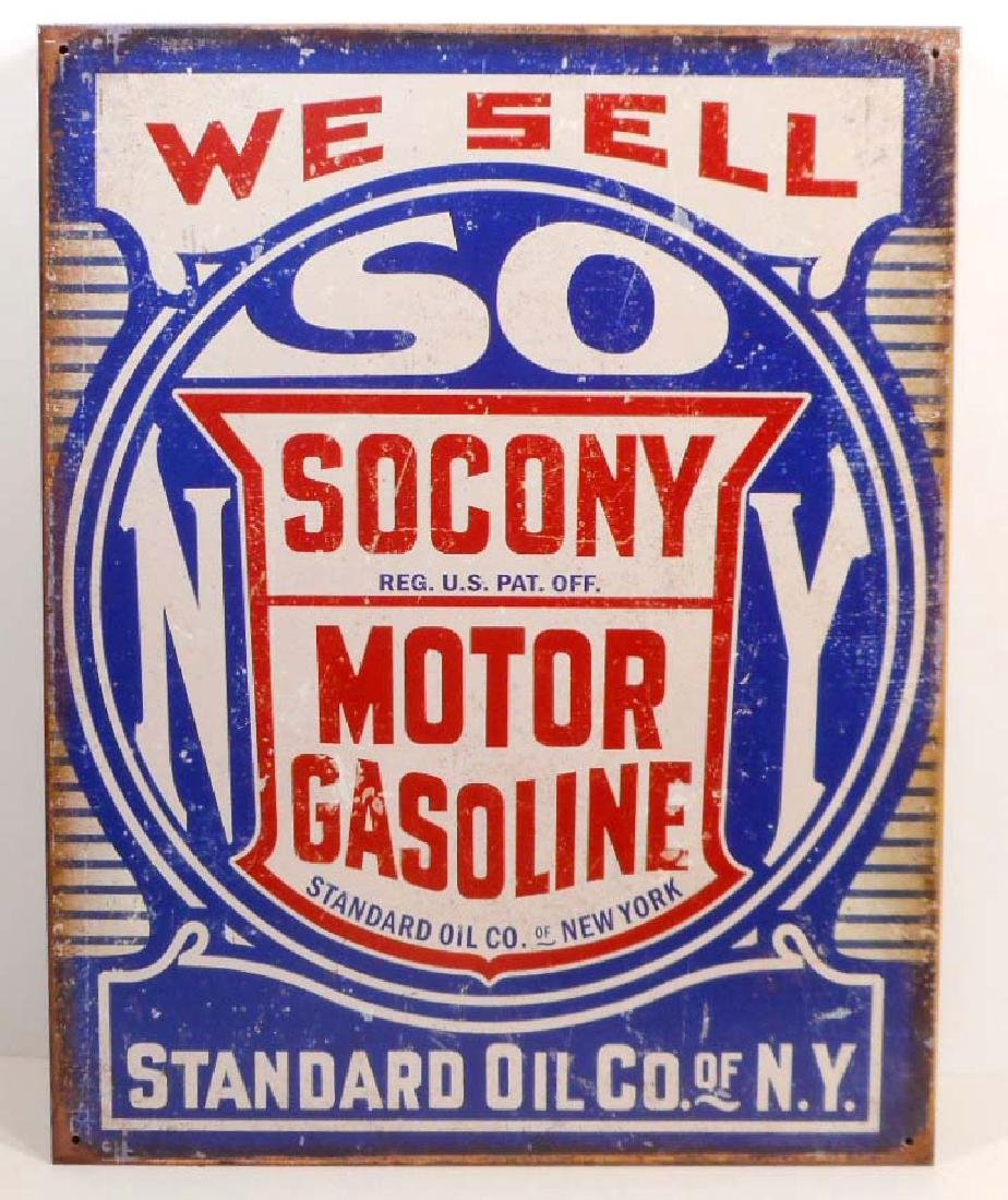 SOCONY MOTOR GASOLINE METAL ADVERTISING SIGN - 12.5X16