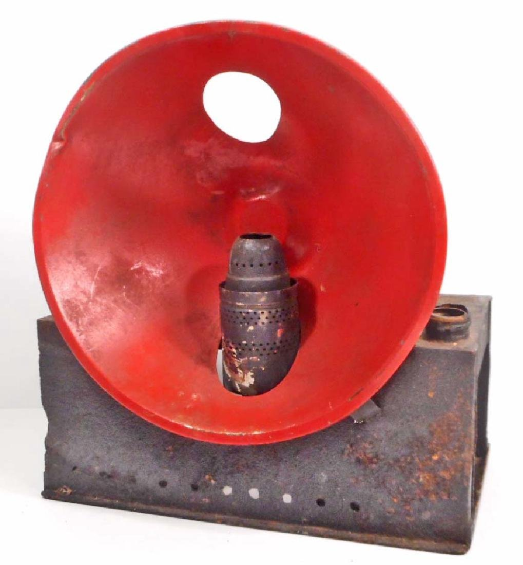 RARE ANTIQUE GAS LANTERN / HEATER W/ RED METAL