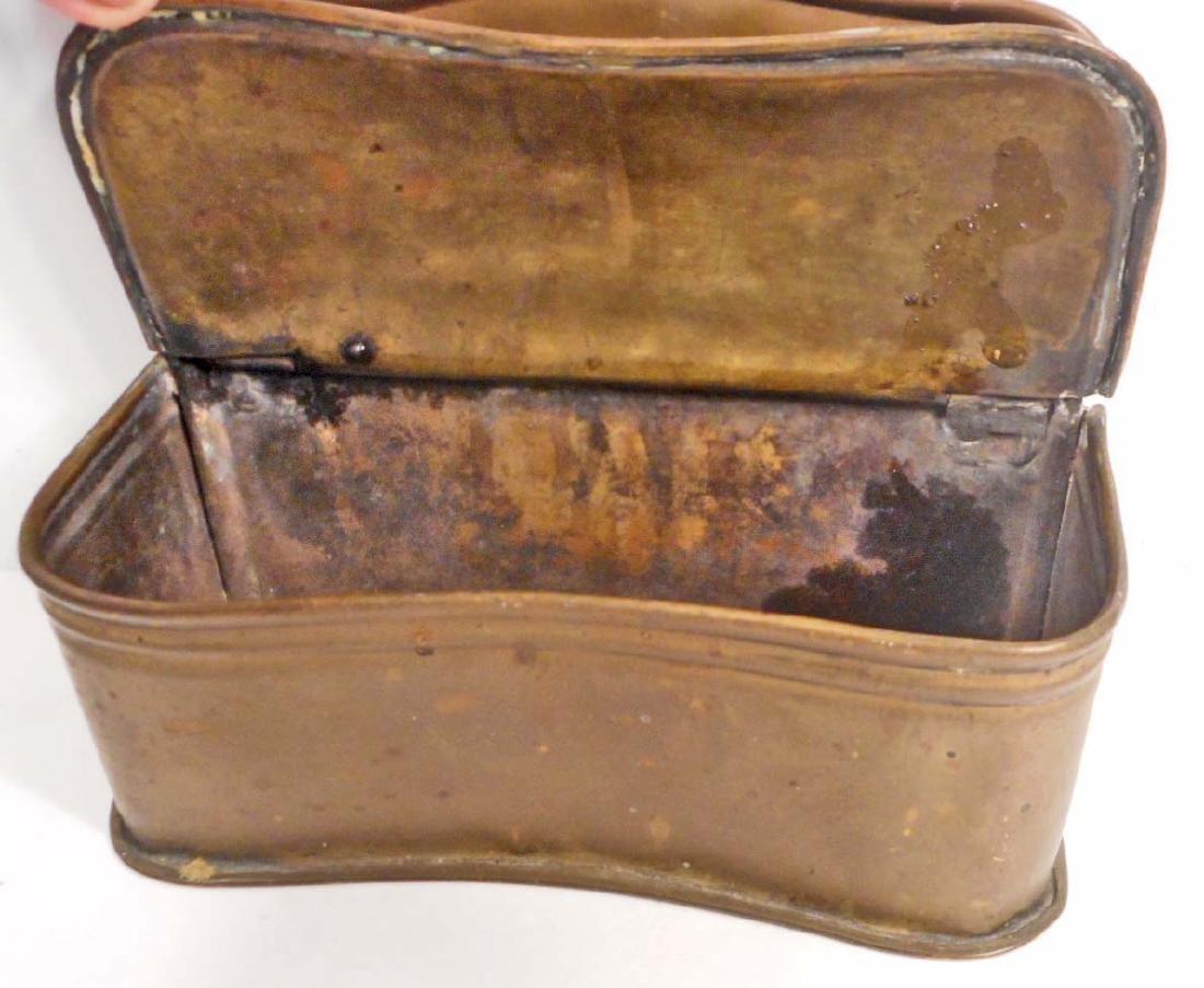 ANTIQUE BRASS SALT BOX - 2