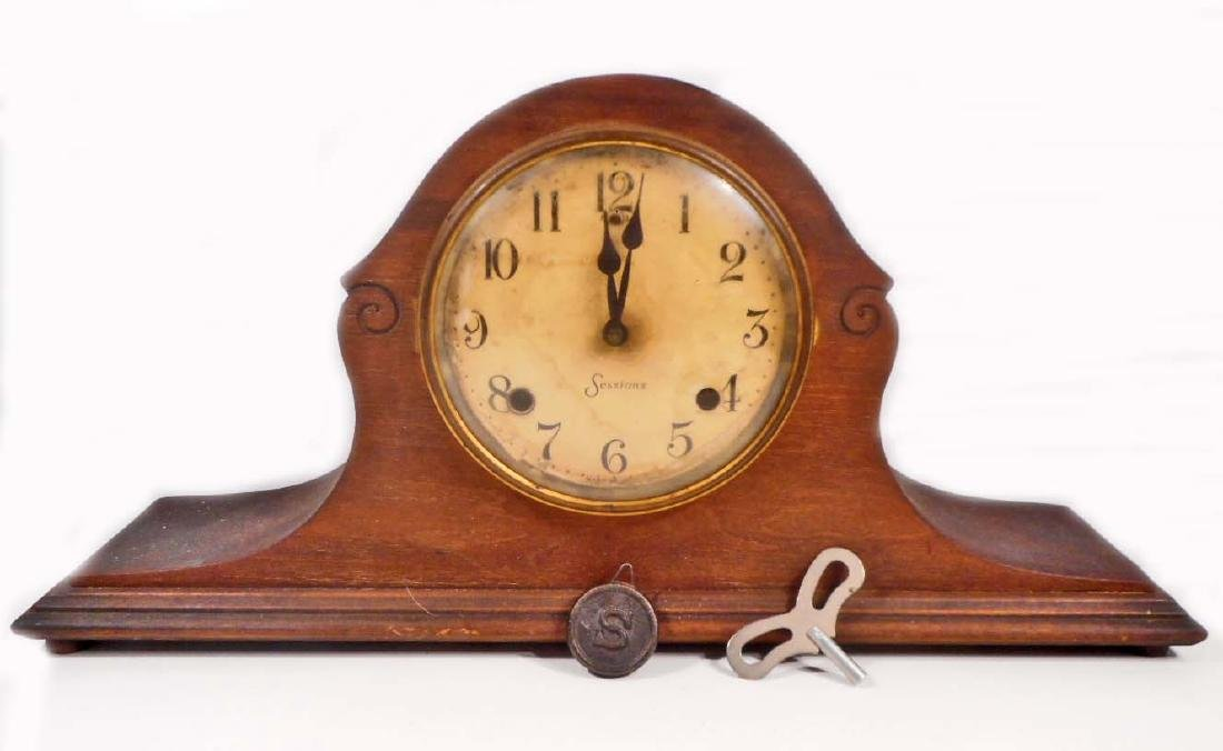 ANTIQUE SESSIONS MANTLE CLOCK W/ KEY AND PENDULUM