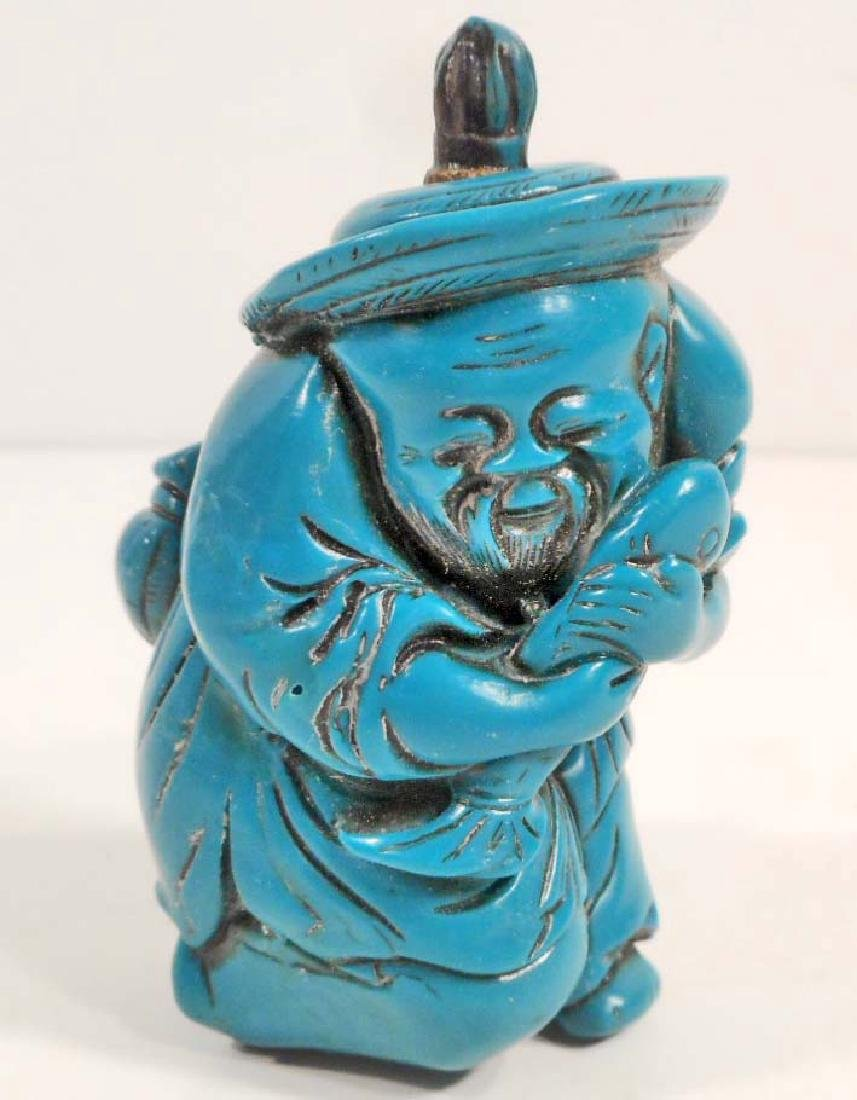 OLD MAN TURQUOISE COLOR SNUFF BOTTLE