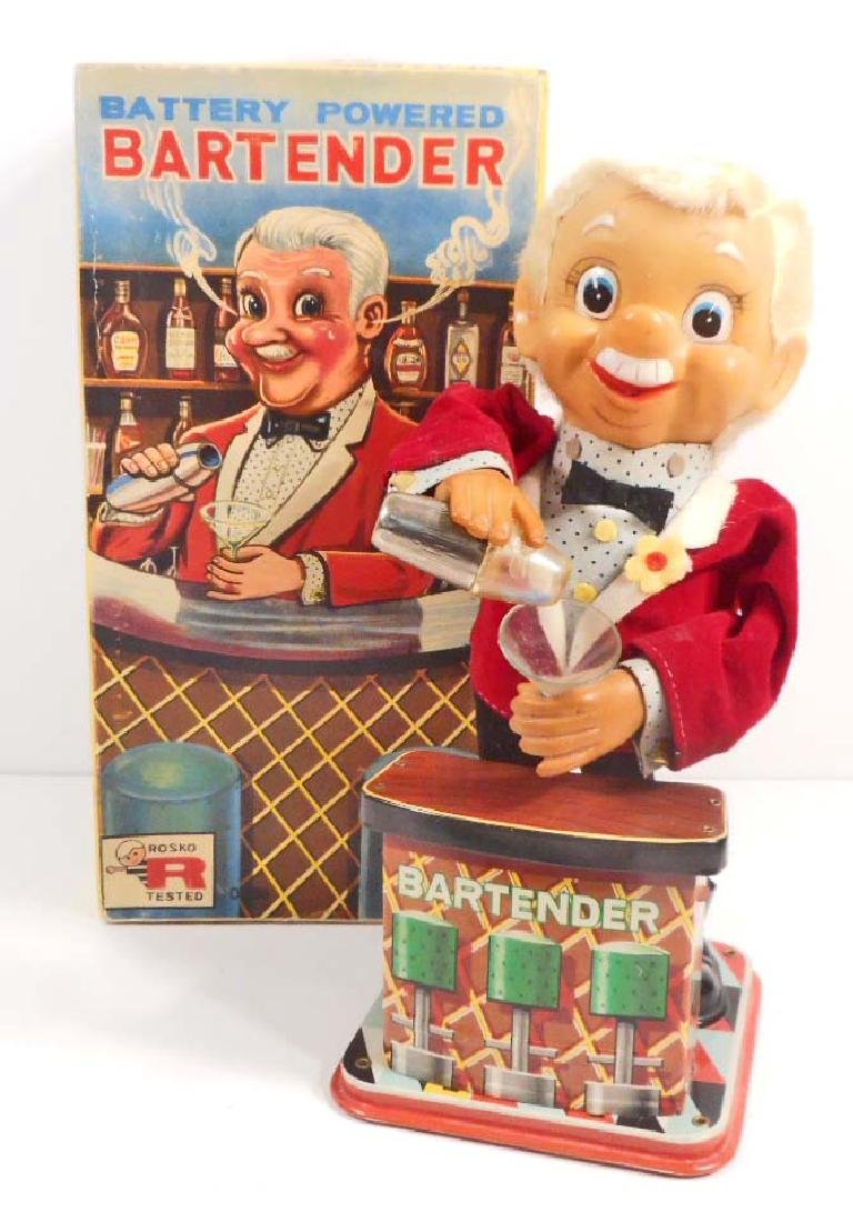 VINTAGE 1960'S TIN LITHO BARTENDER BATTERY OPERATED TOY
