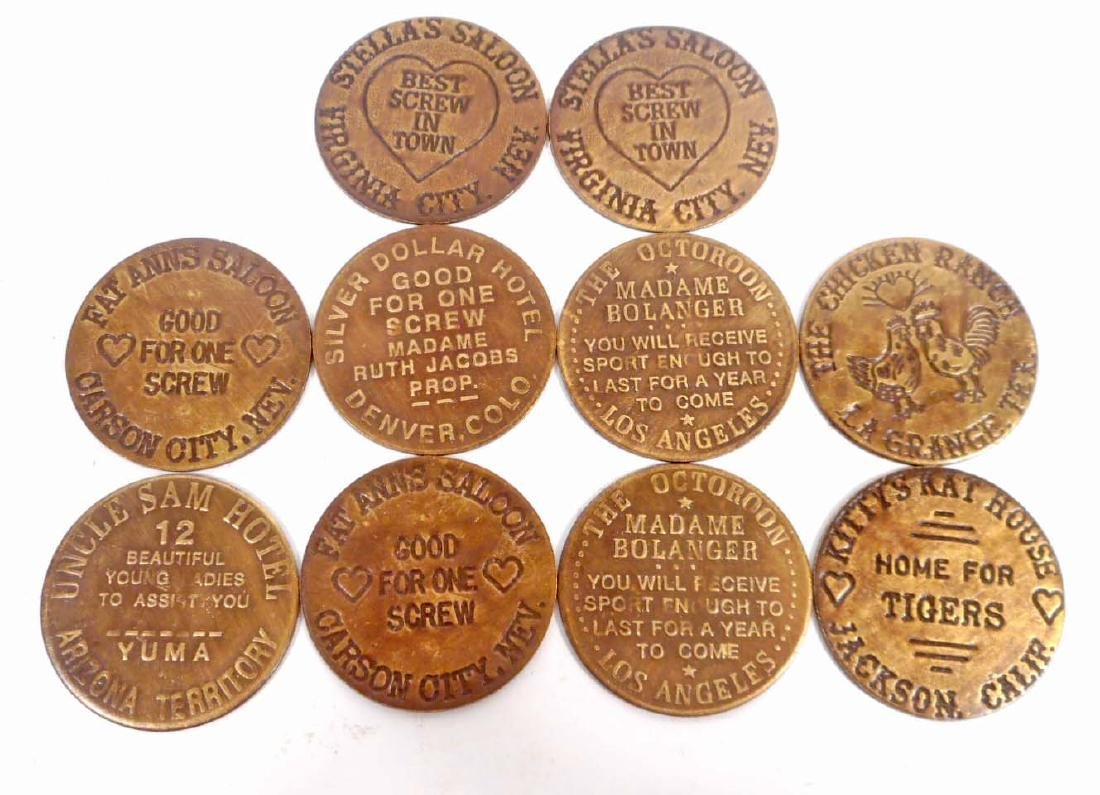 LOT OF 10 CATHOUSE BROTHEL TOKENS