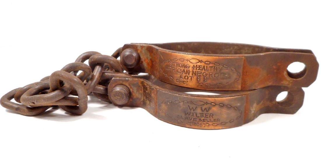 CAST IRON WILBER SLAVE SELLER HANDCUFFS