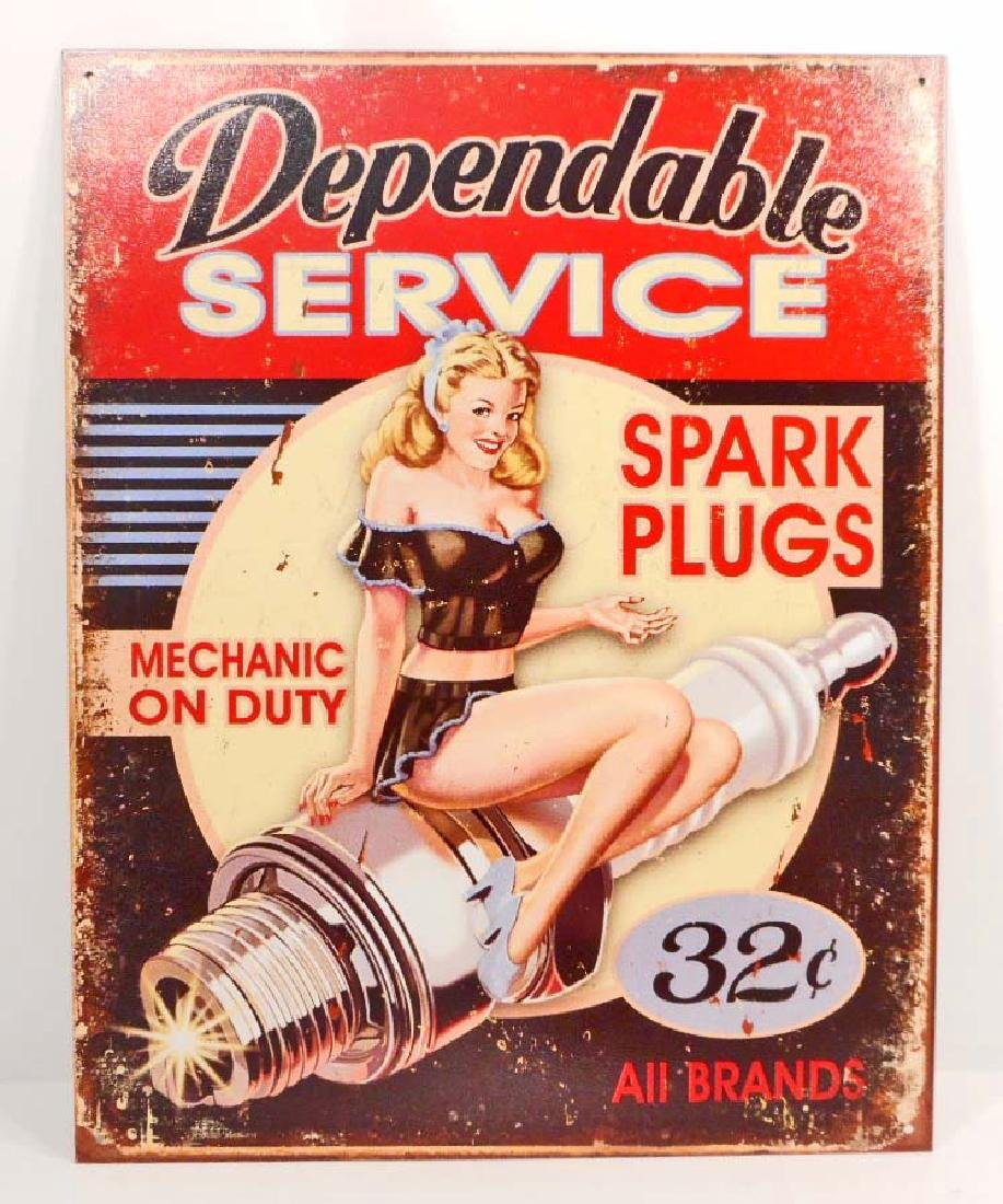 DEPENDABLE SERVICE PIN UP GIRL METAL SIGN