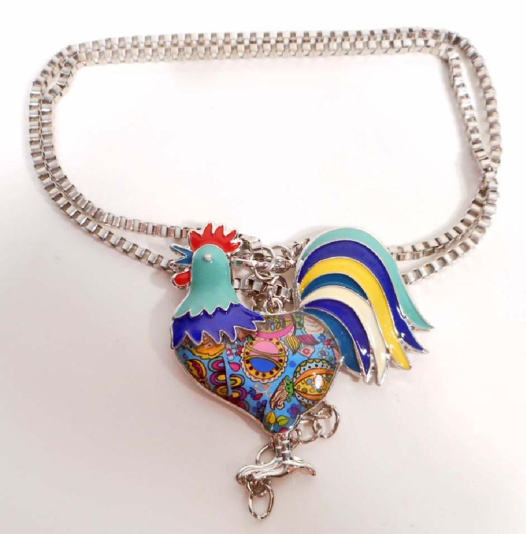 BEAUTIFUL ROOSTER CHICKEN COLORFUL ENAMEL NECKLACE
