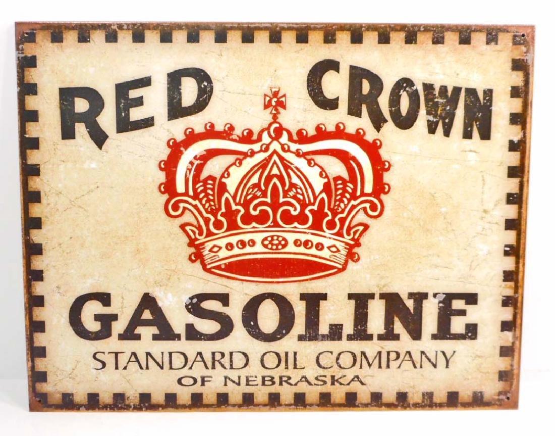 RED CROWN GASOLINE ADVERTISING METAL SIGN