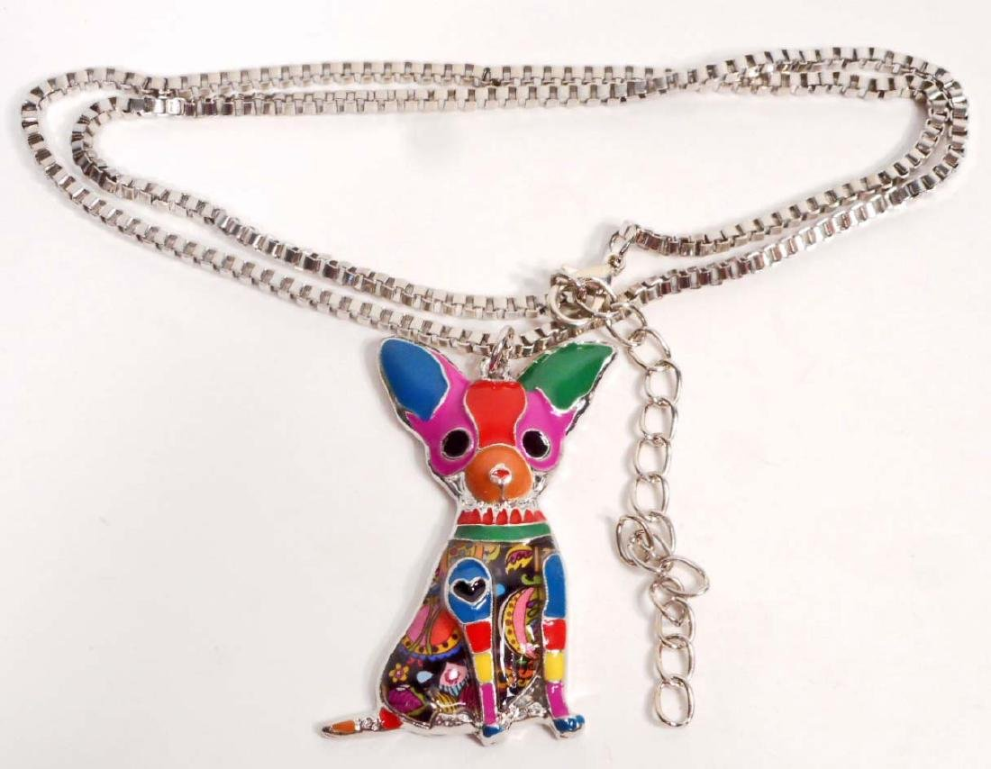 BEAUTIFUL CHIHUAHUA DOG COLORFUL ENAMEL NECKLACE