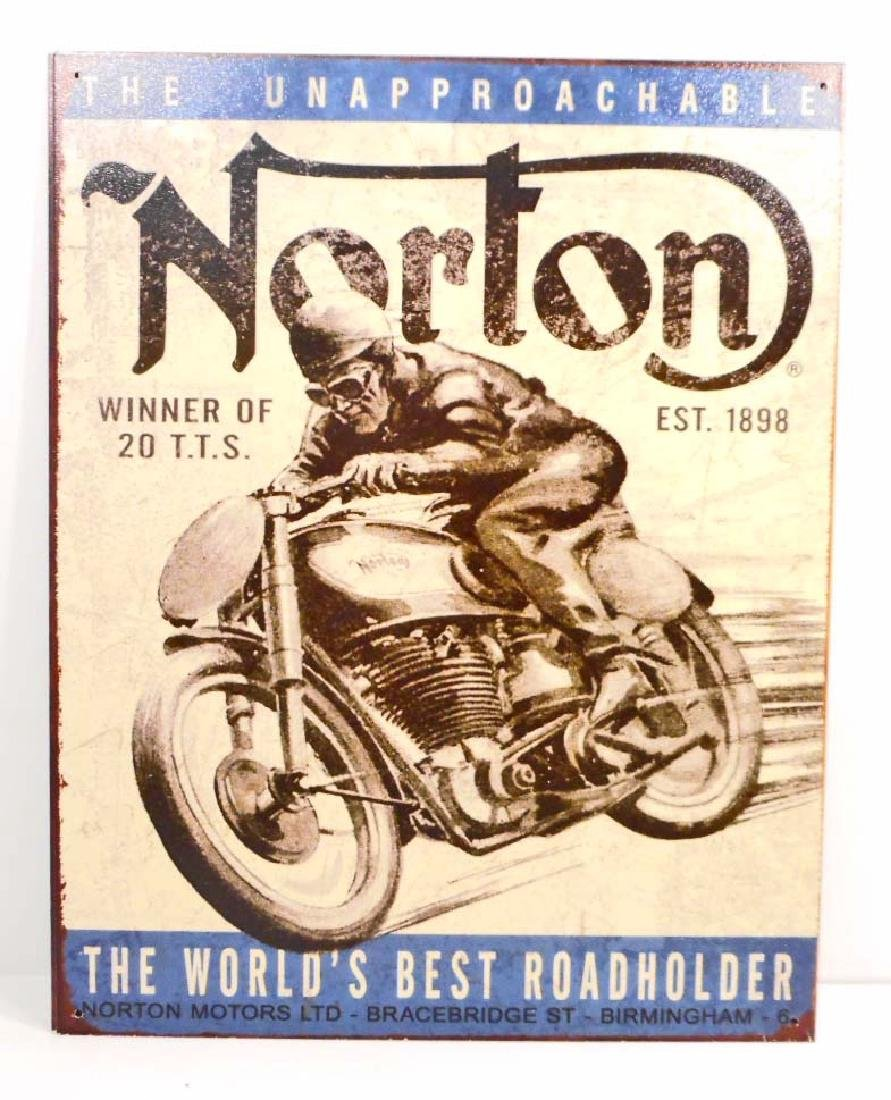 NORTON MOTORCYCLE ADVERTISING METAL SIGN