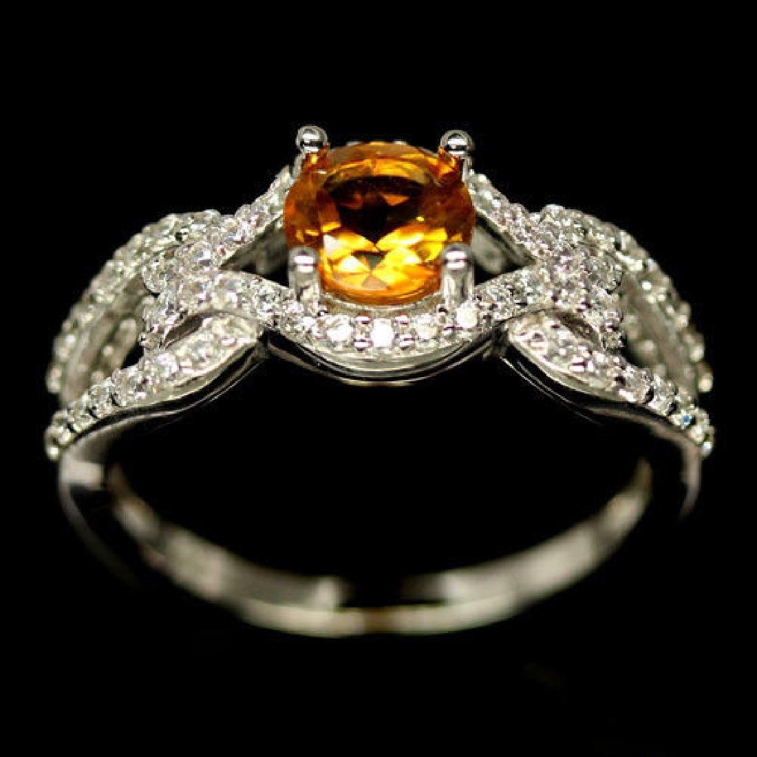 DAZZLING! REAL! 6 mm. GOLDEN YELLOW CITRINE & WHITE CZ