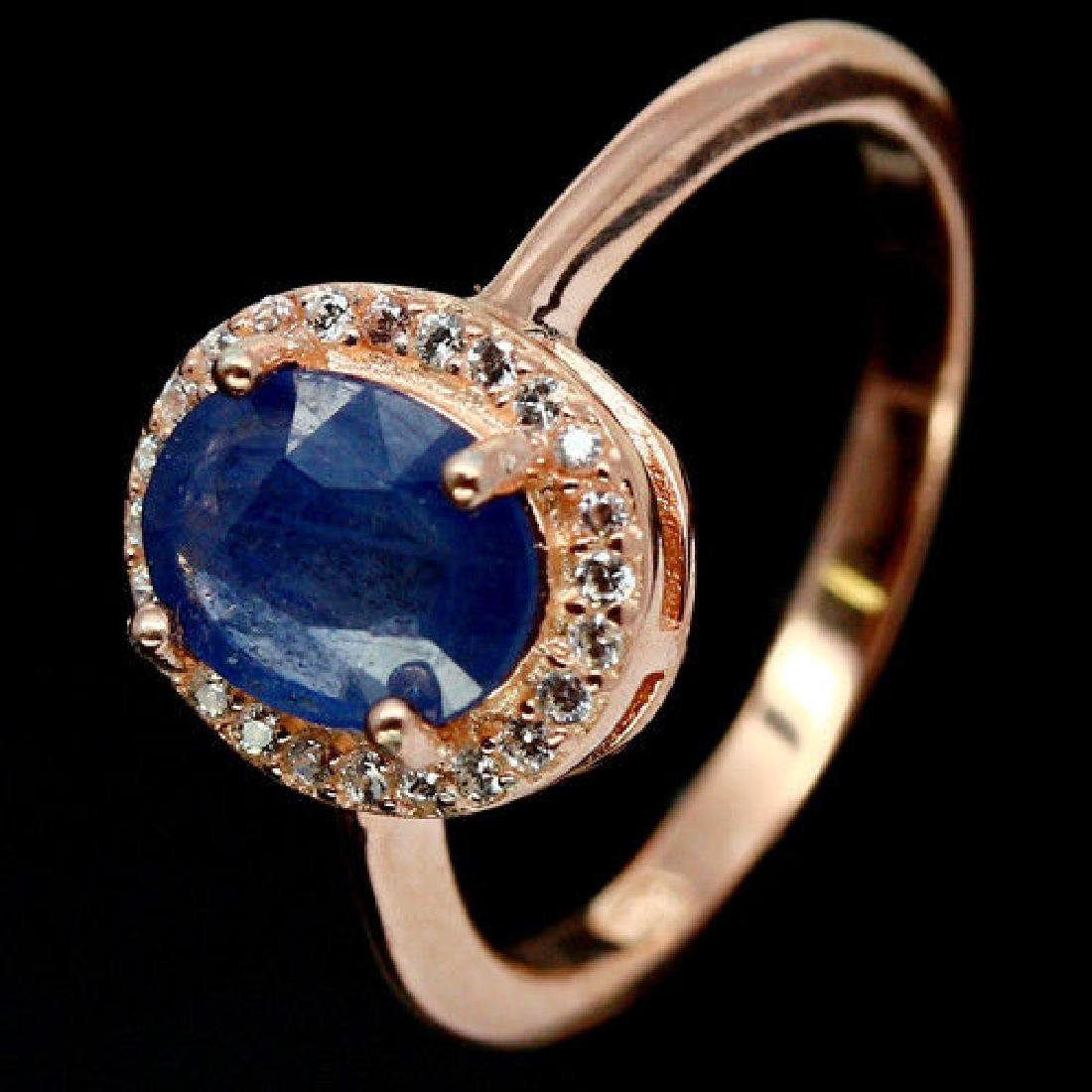 NATURAL 6 X 8mm. BLUE SAPPHIRE & CZ 925 STERLING SILVER