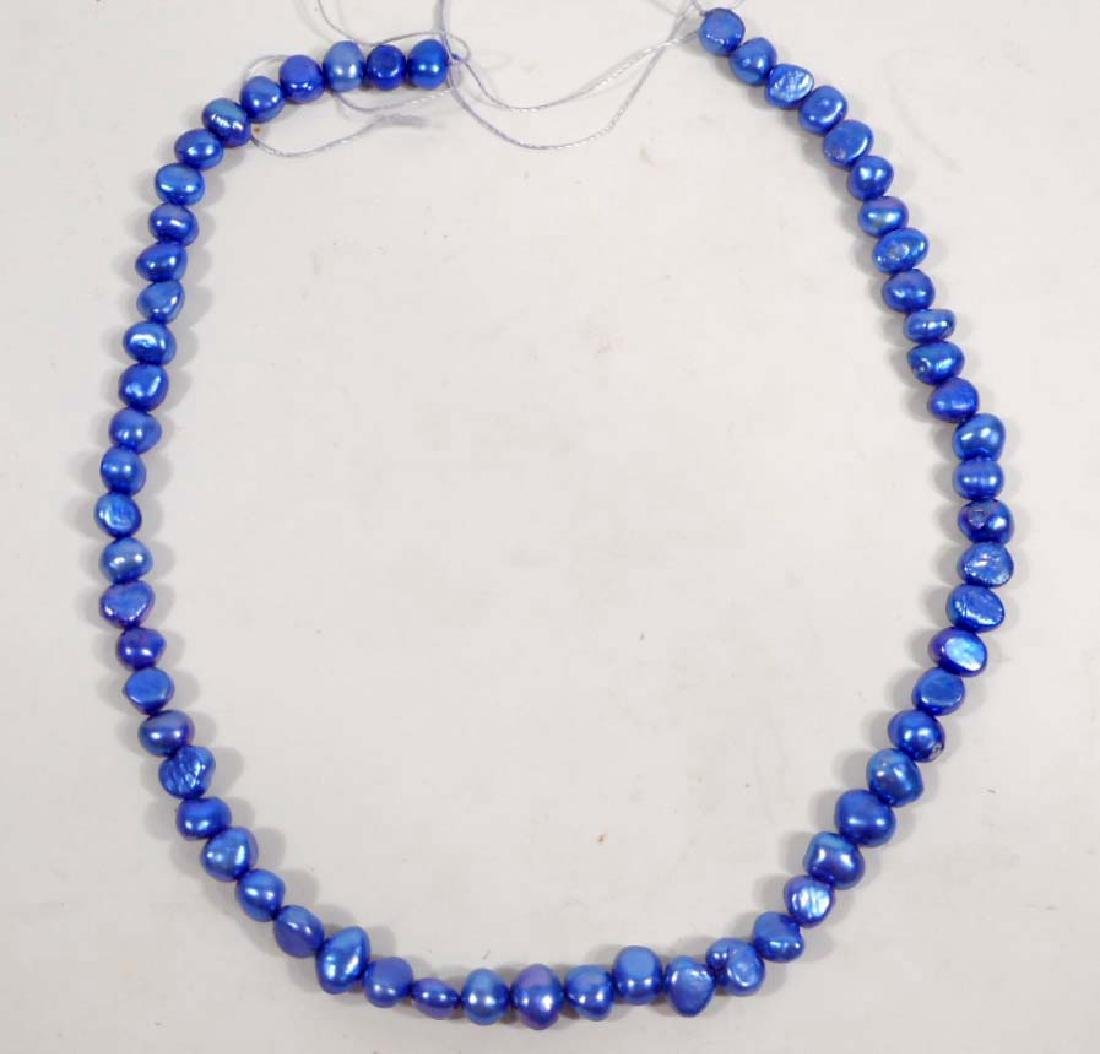 LOT OF BLUE CULTURED FRESHWATER PEARLS - 15 INCH