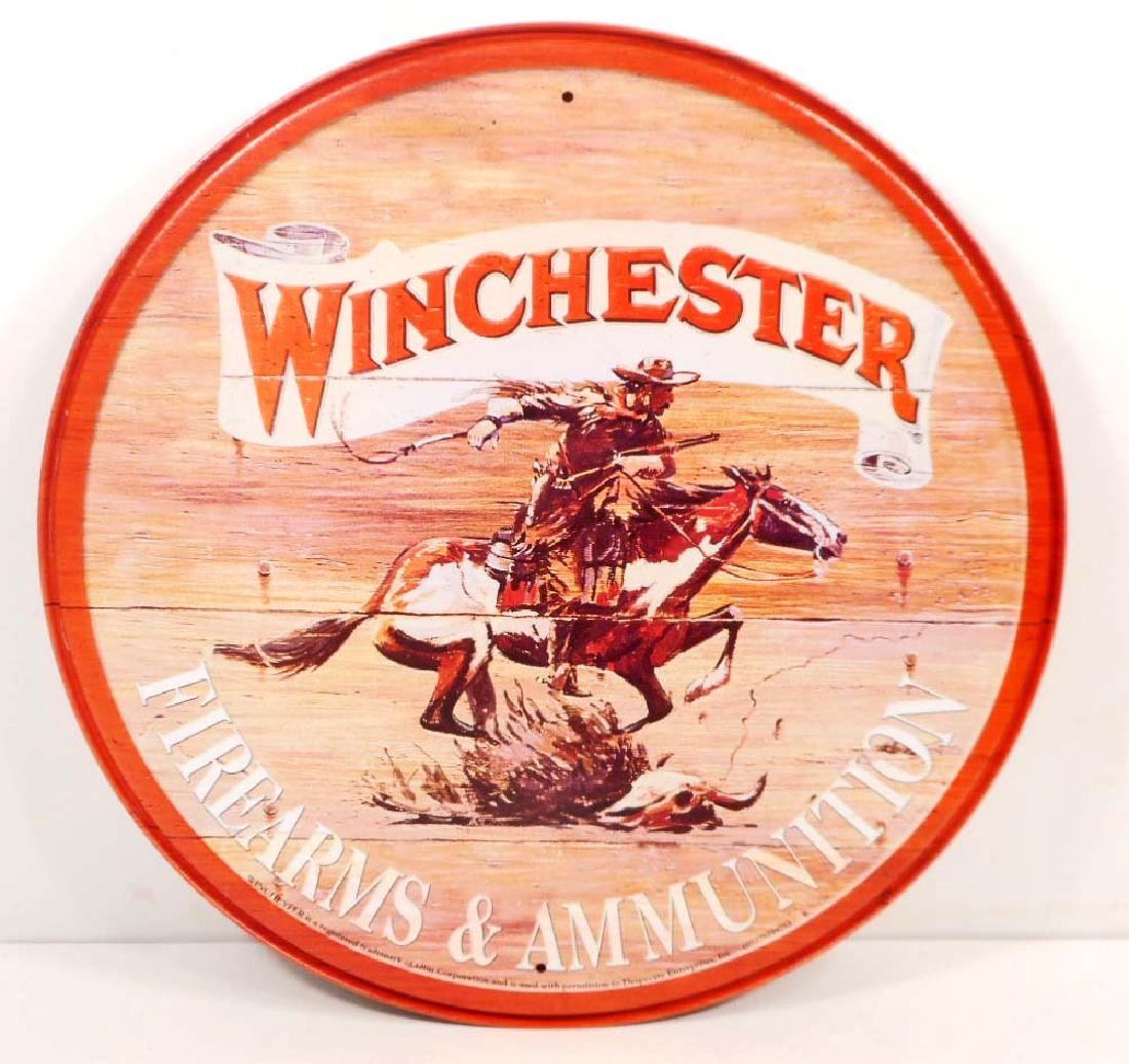 WINCHESTER ADVERTISING ROUND METAL SIGN