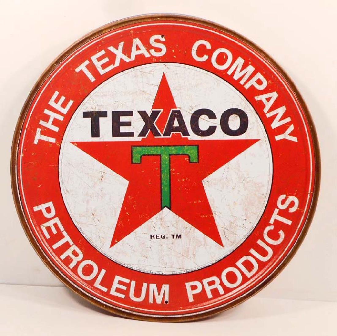 TEXACO ADVERTISING ROUND METAL SIGN