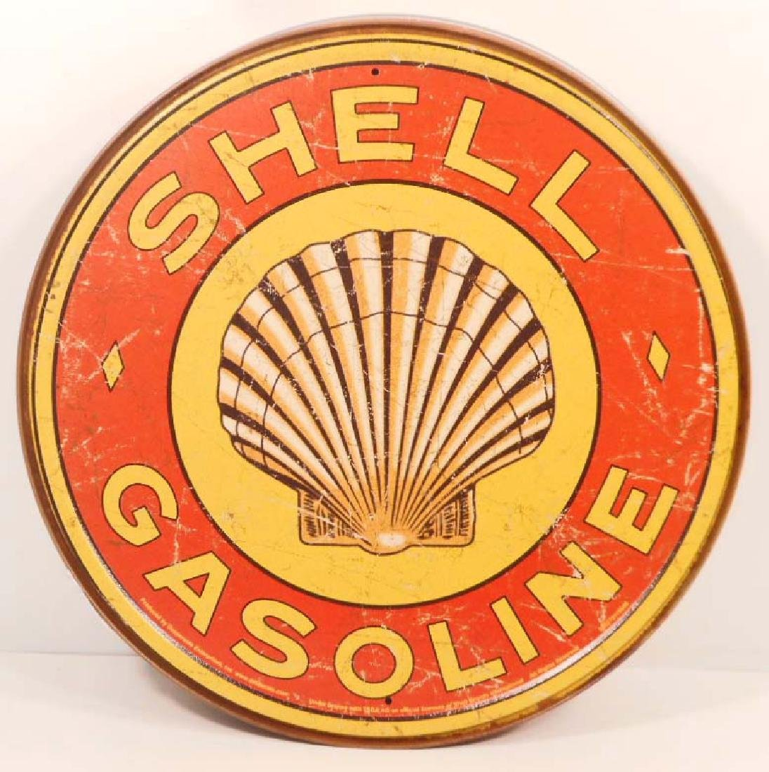 SHELL ADVERTISING ROUND METAL SIGN